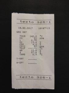 Ticket analizador de gases