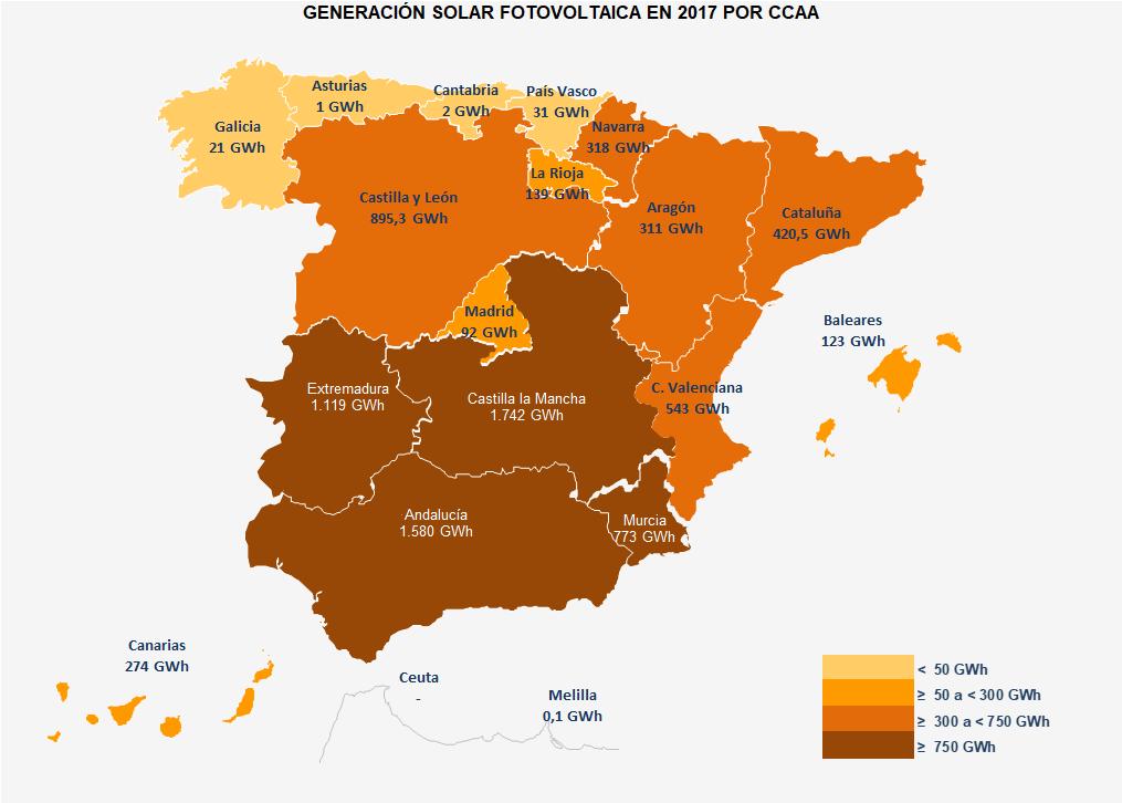 Generación FV 2017 por CCAA