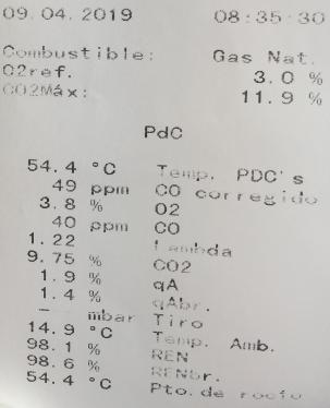 ticket analizador de gases caldera de condensación
